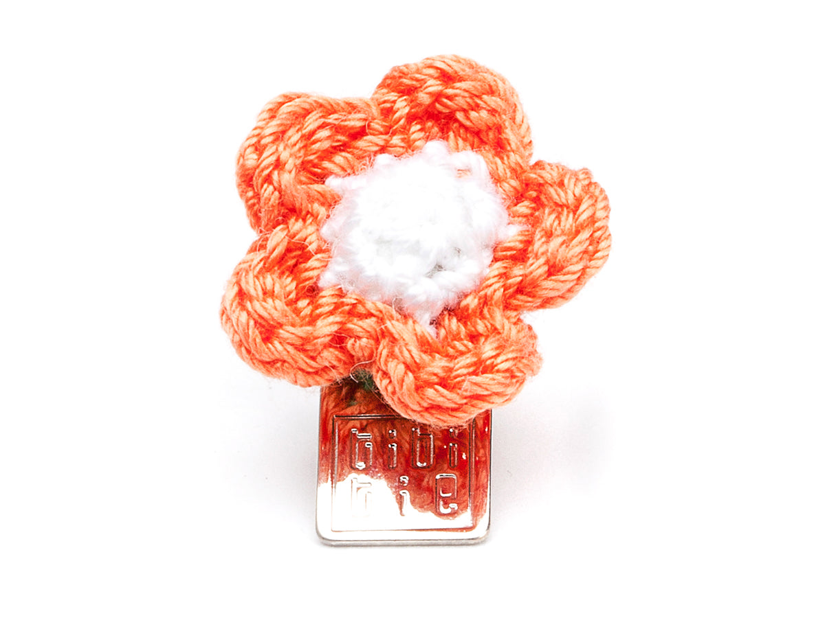 Lacy Flower Boutonniere Orange & White