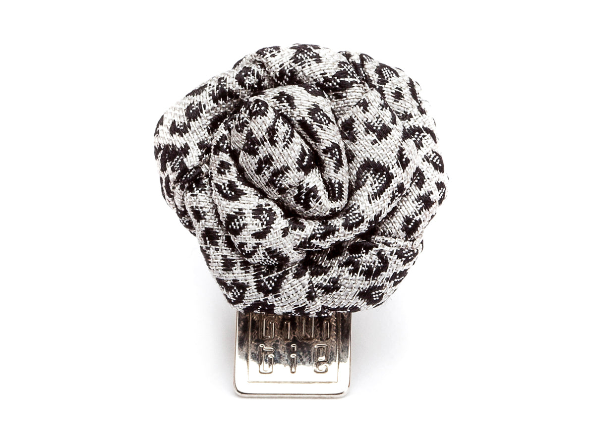 Silk Rose Boutonniere Jaguar Black & White
