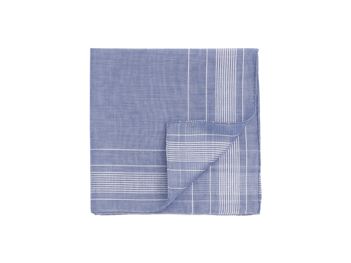 Blue-White Harlan Pocket Square