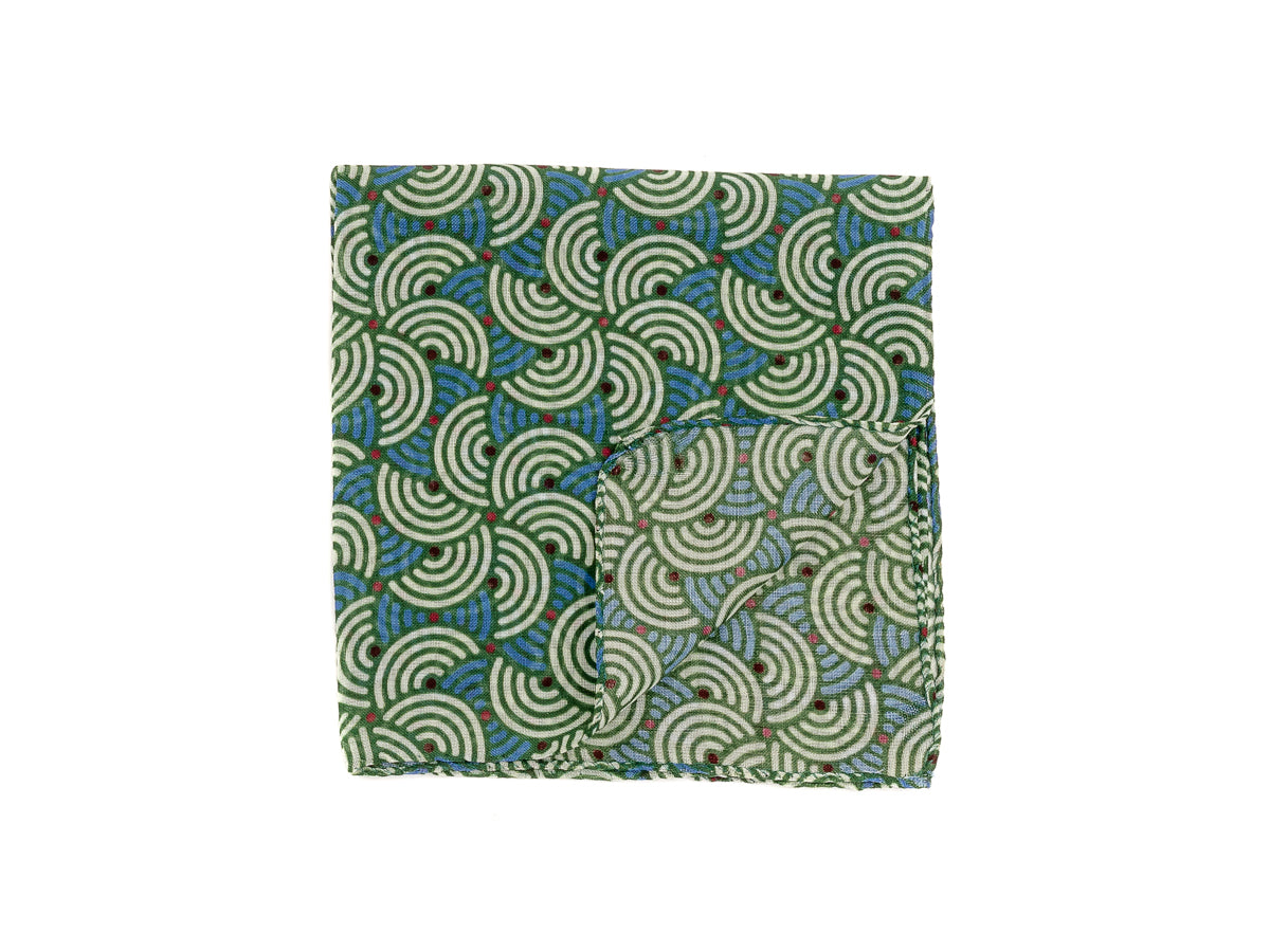 Wool Cashmere Pocket Square Semicircle Green