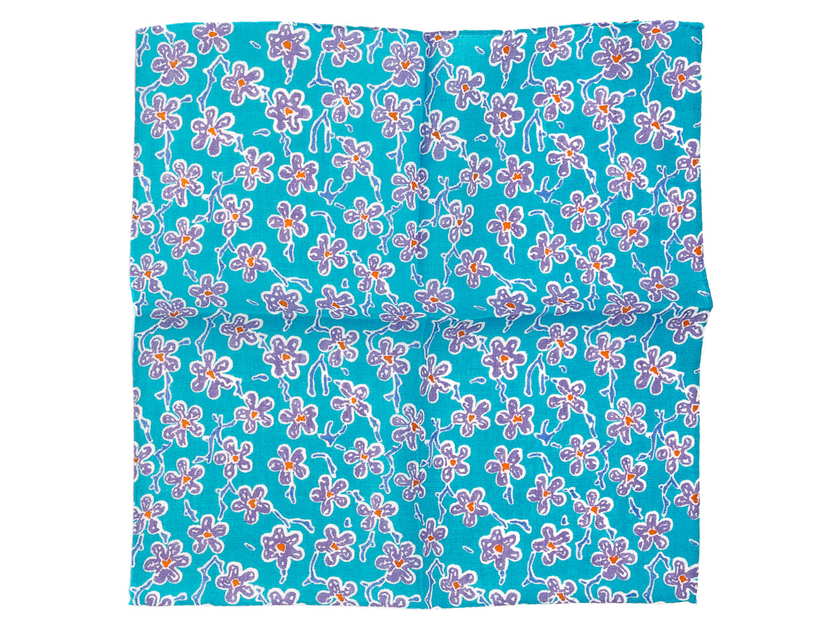 Cotton Pocket Square Flower Blue & Purple