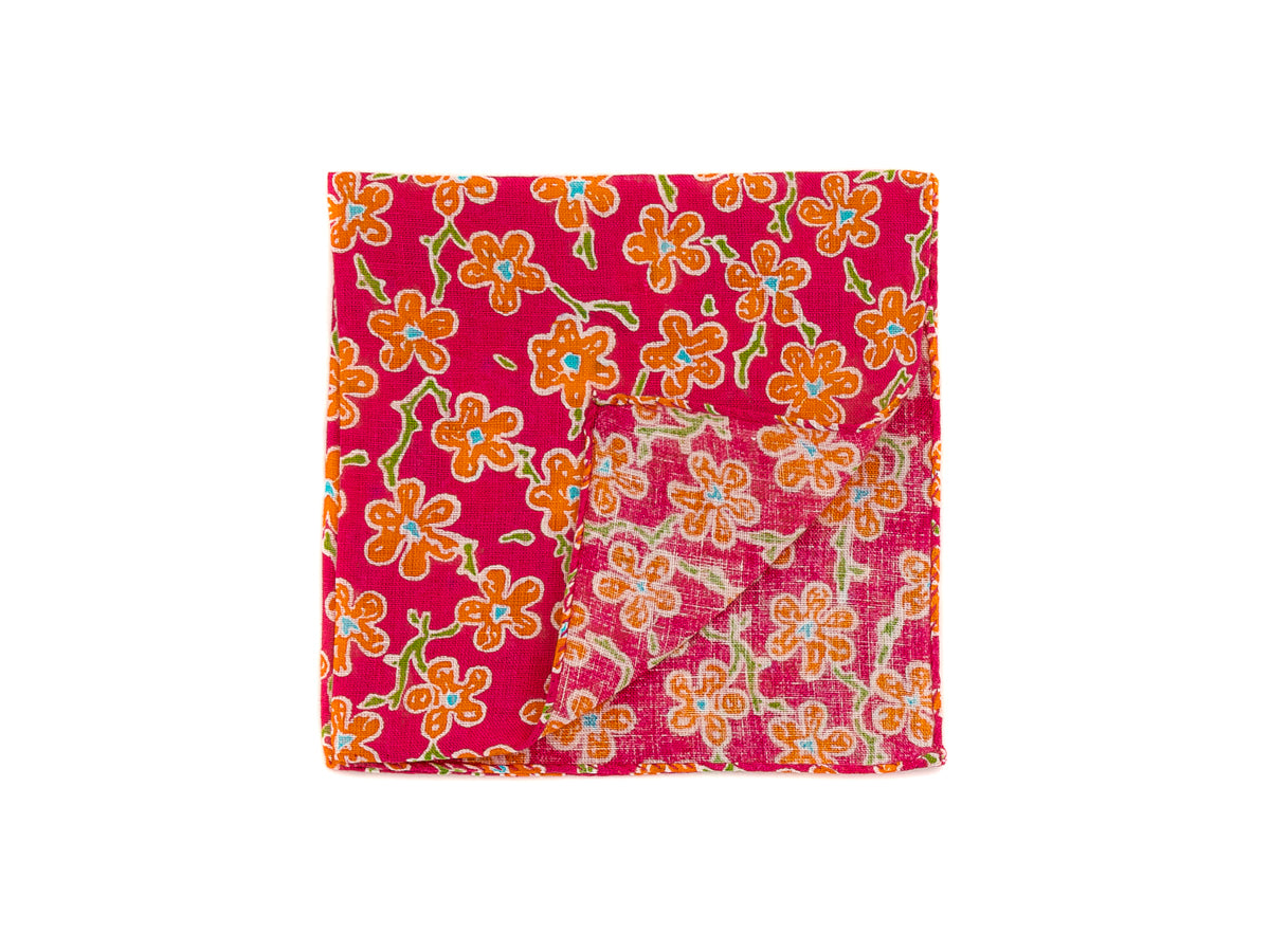 Cotton Pocket Square Flower Pink & Orange