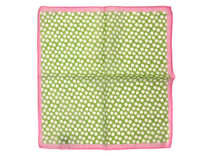 Cotton Pocket Square Polka Dot Green & White