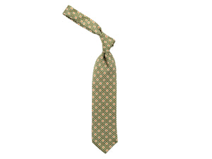 Fine Silk Tie Square Motif Green