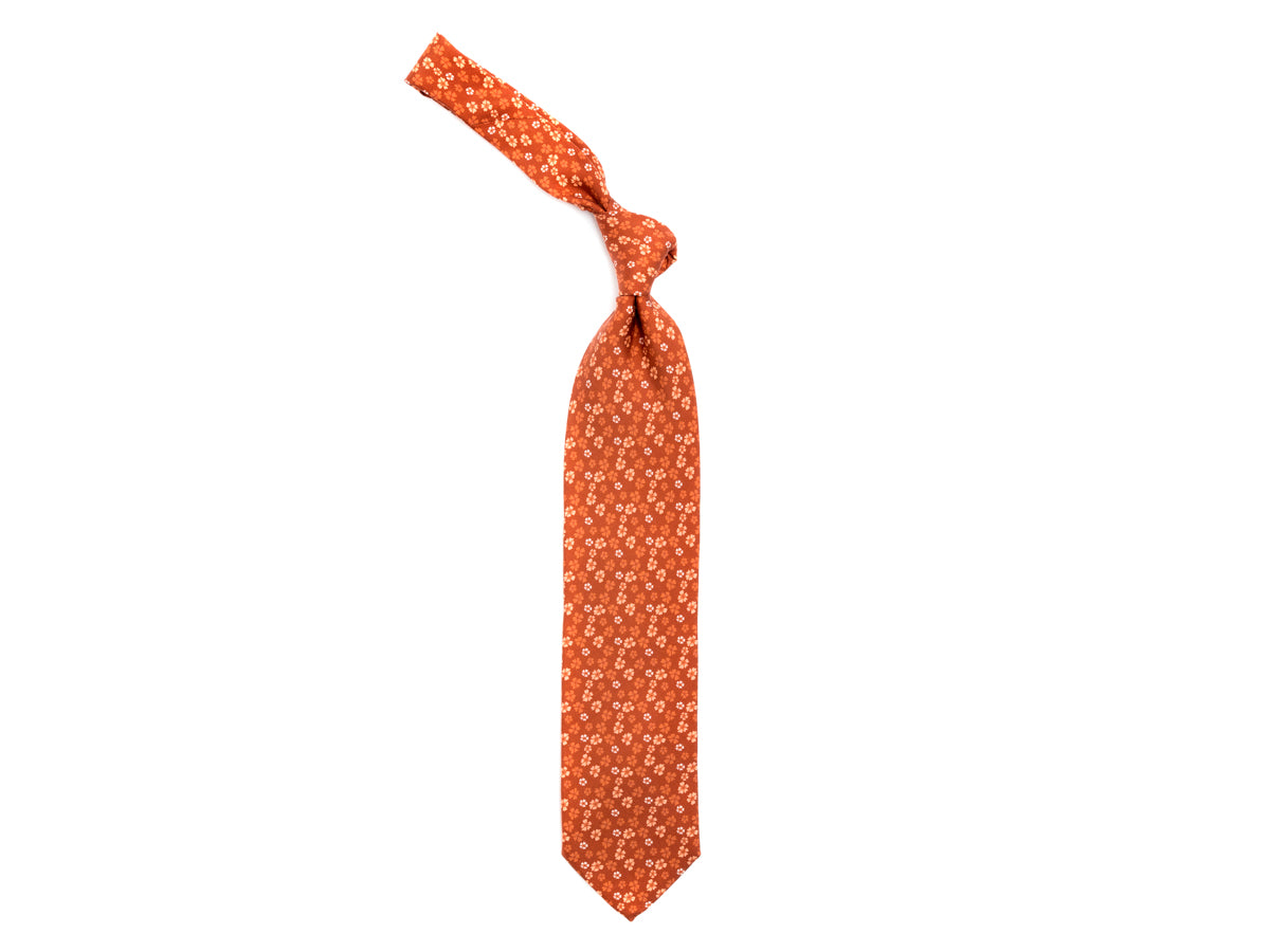 Fine Silk Tie Floral Burnt Orange