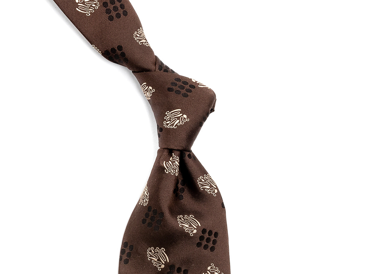 Silk Nine Dot Motif Tie Brown
