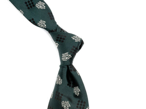 Silk Nine Dot Motif Tie Green