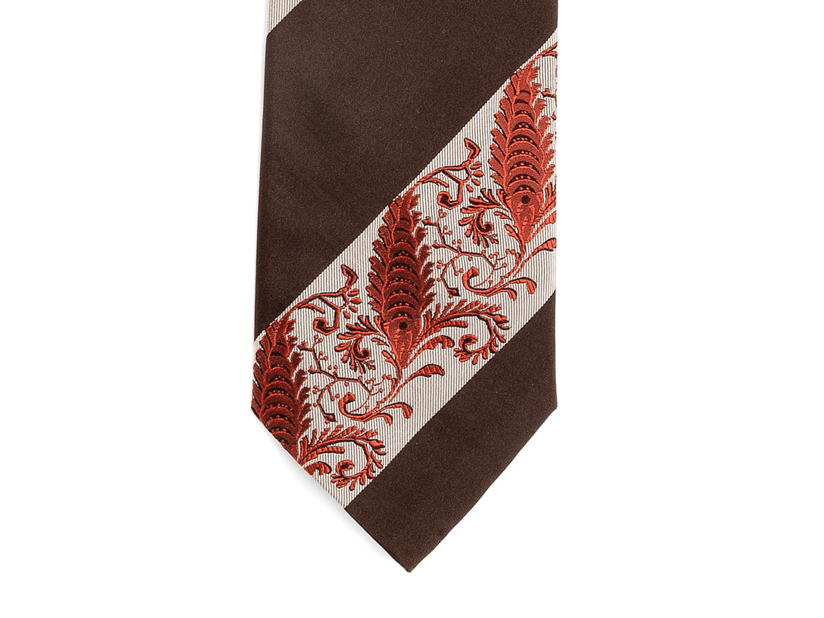 Silk Striped Floral Tie Brown