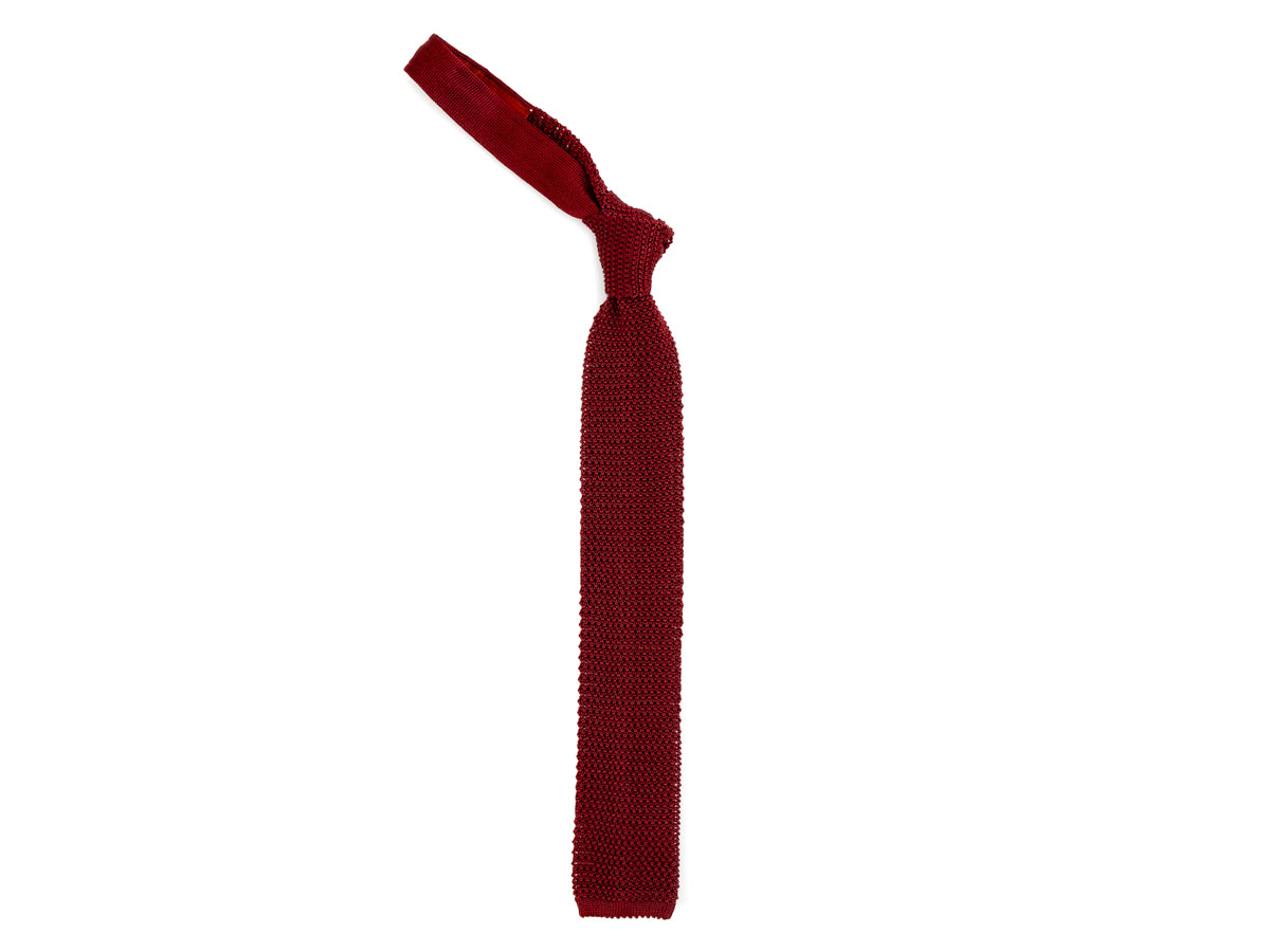 Silk Knit Tie Burgundy