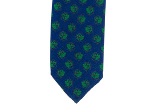 Lined Seven Fold Silk Tie Large Rose Blue