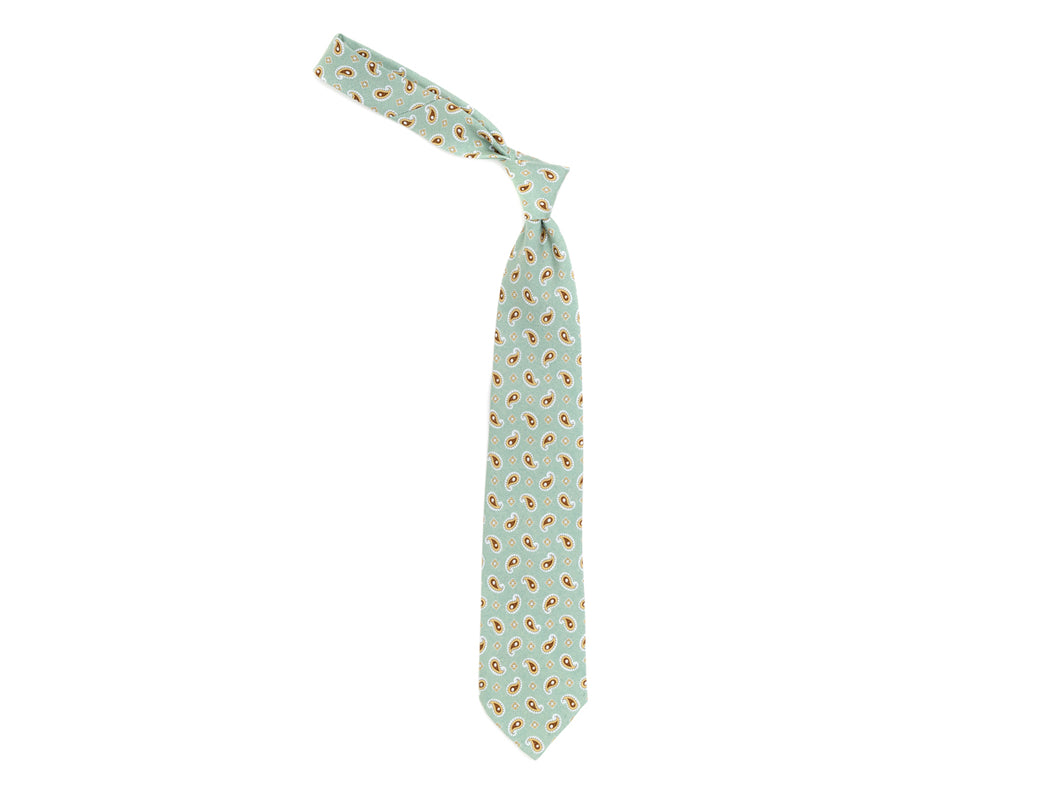 Unlined Silk Tie Paisley Cross Celadon