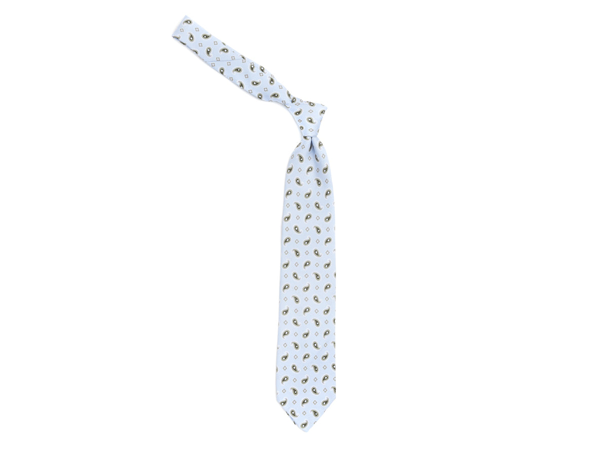 Unlined Silk Tie Paisley Cross Sky Blue