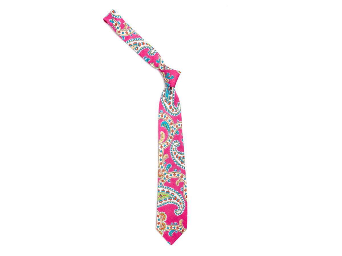 Linen Tie Large Paisley Pink