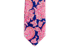Load image into Gallery viewer, Five Fold Silk Tie Indian Paisley Navy