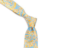 Load image into Gallery viewer, Five Fold Silk Tie Indian Paisley Light Blue
