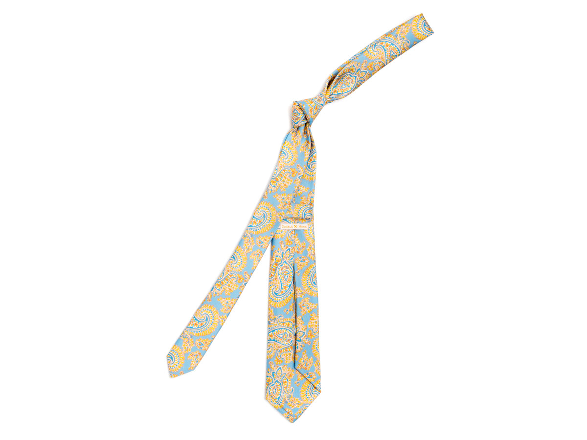 Five Fold Silk Tie Indian Paisley Light Blue
