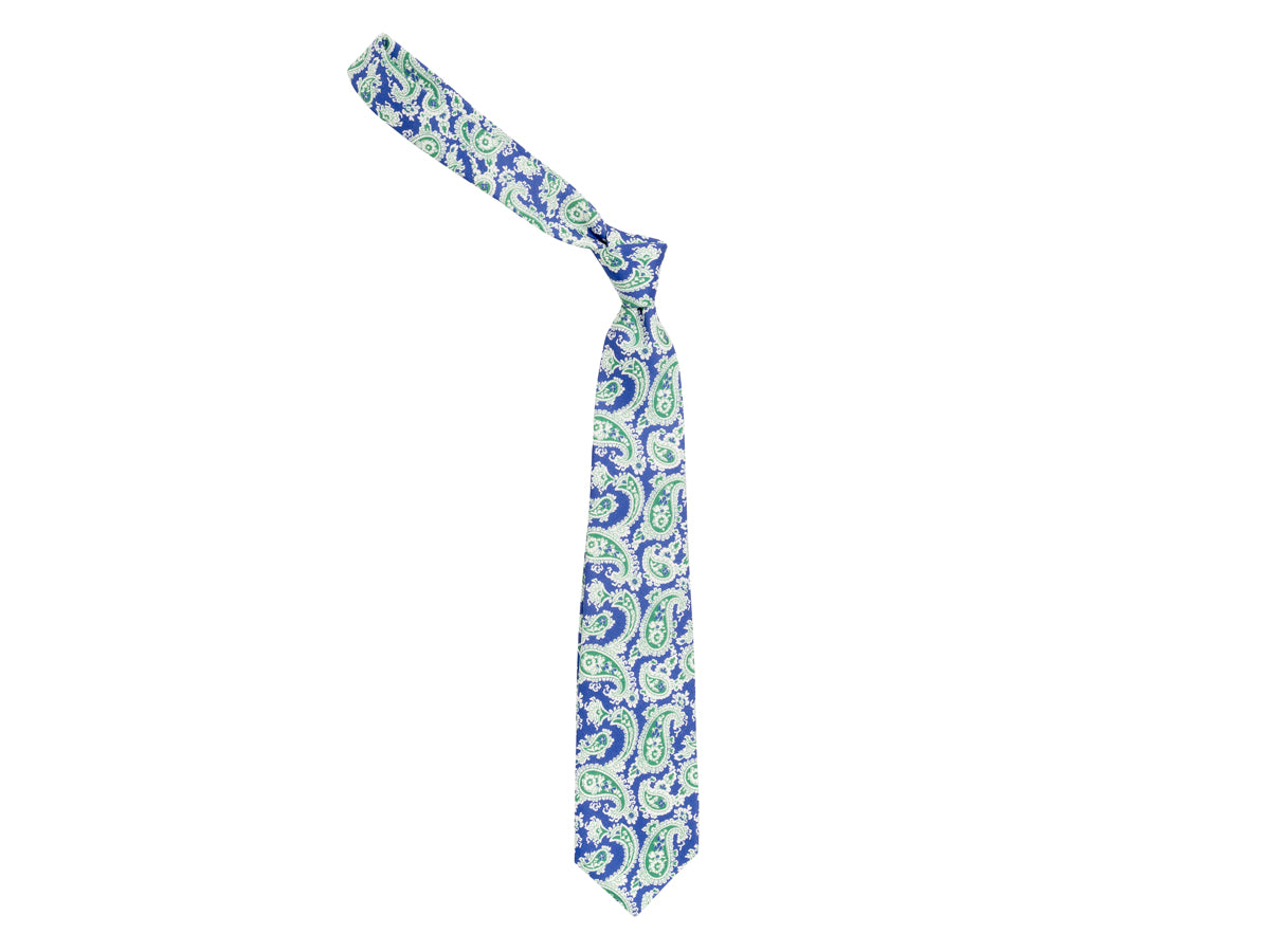 Five Fold Shantung Tie Paisley Blue