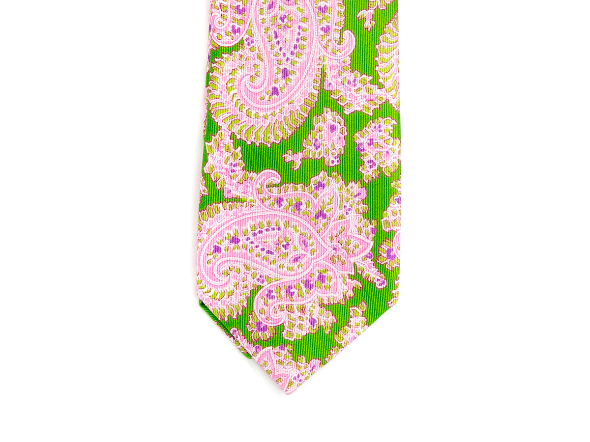 Five Fold Silk Tie Indian Paisley Green