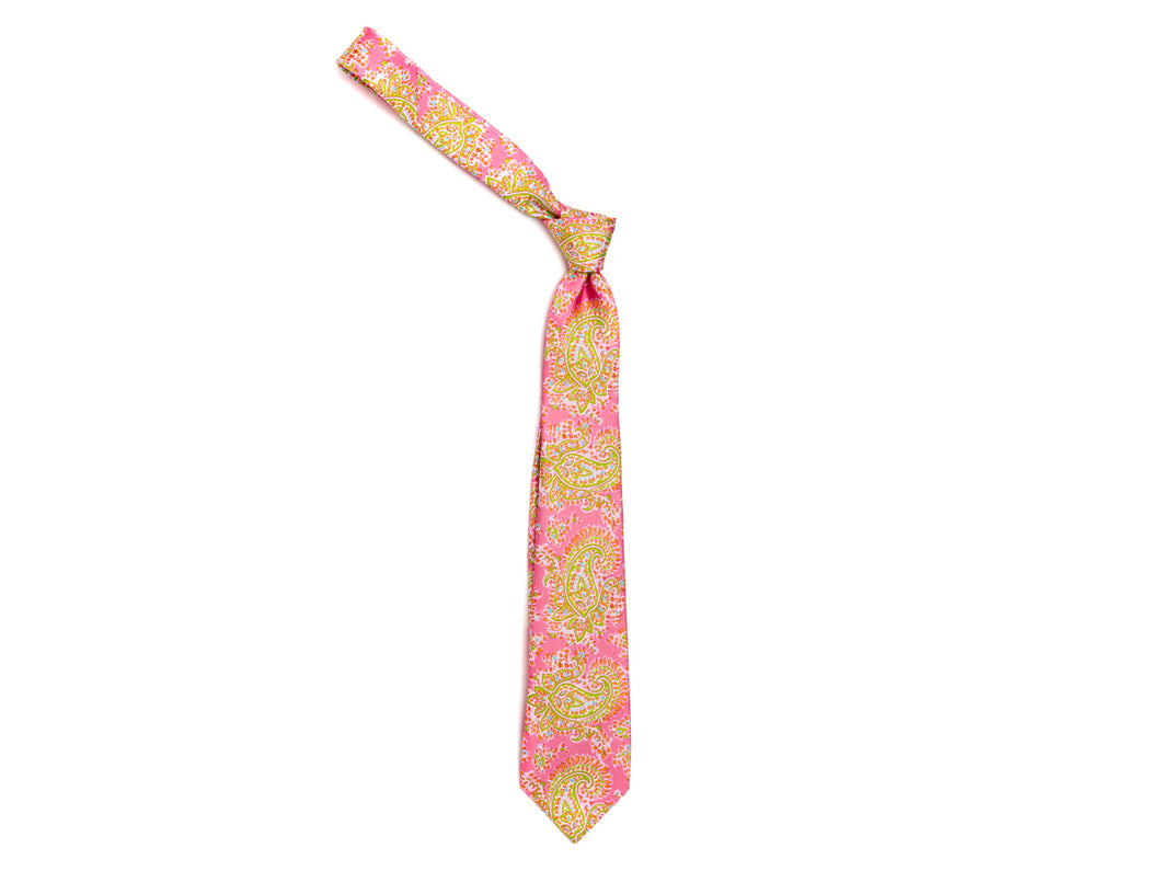 Five Fold Silk Tie Indian Paisley Pink