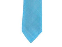 Load image into Gallery viewer, Worsted Wool Tie Herringbone Blue