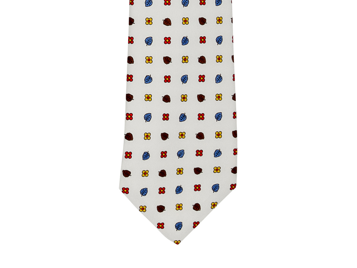 Five Fold Silk Tie White Leaf Floral