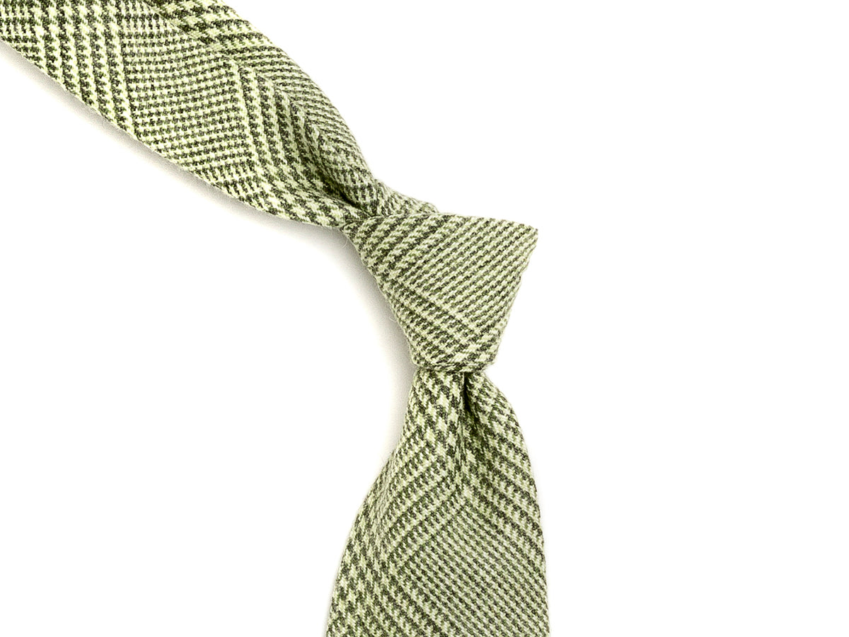 Wool Cashmere Tie Check Green