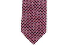 Load image into Gallery viewer, Silk Tie Fine Paisley Navy Red