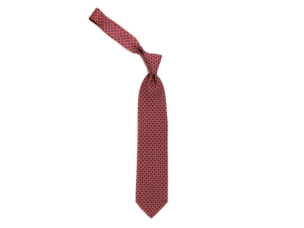 Silk Tie Cross Diamond Navy Red