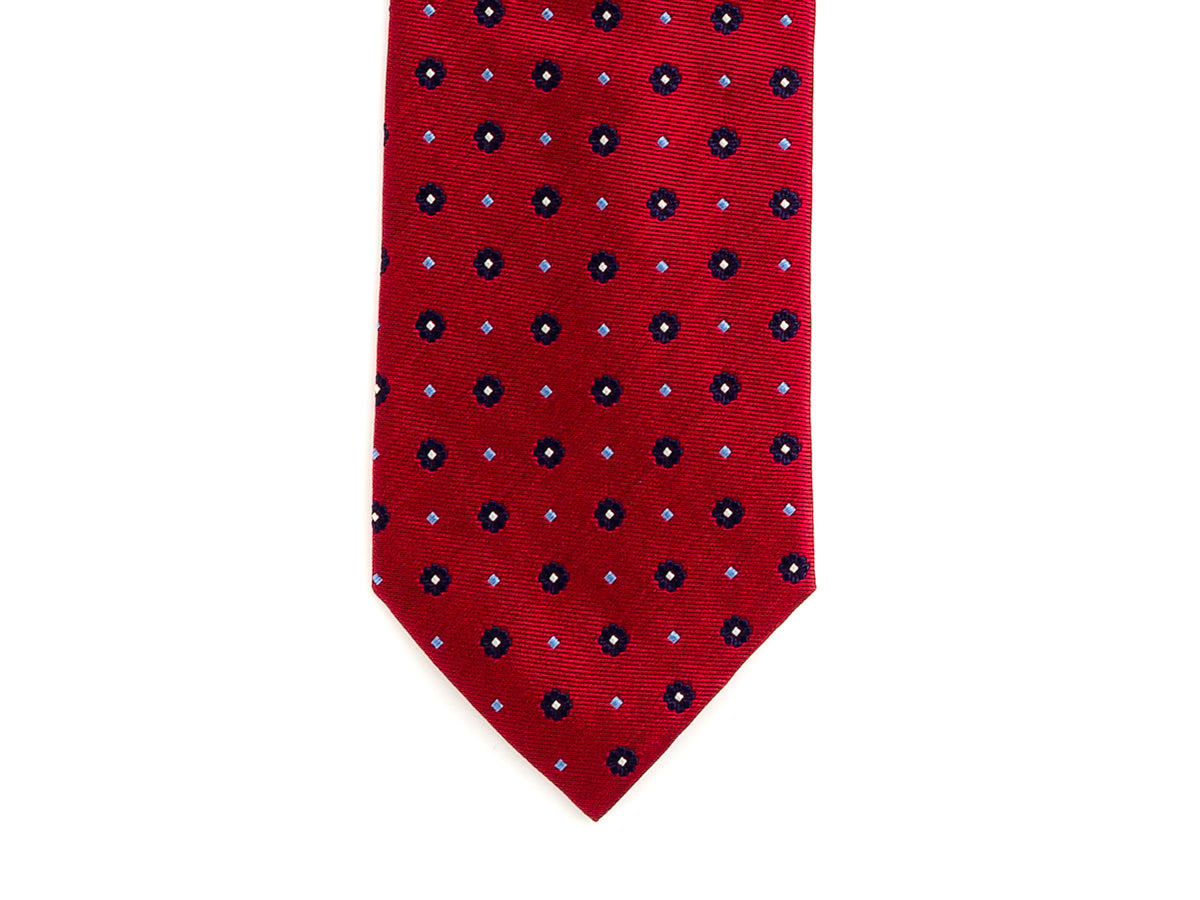 Silk Tie Jacquard Flower Red
