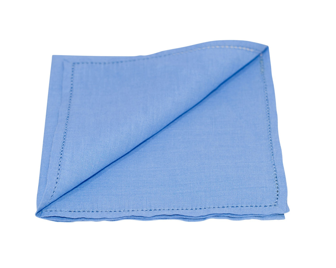 Blue Pocket Square with Hemstitch Edge