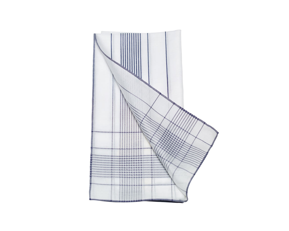 White-Navy Harlan Pocket Square