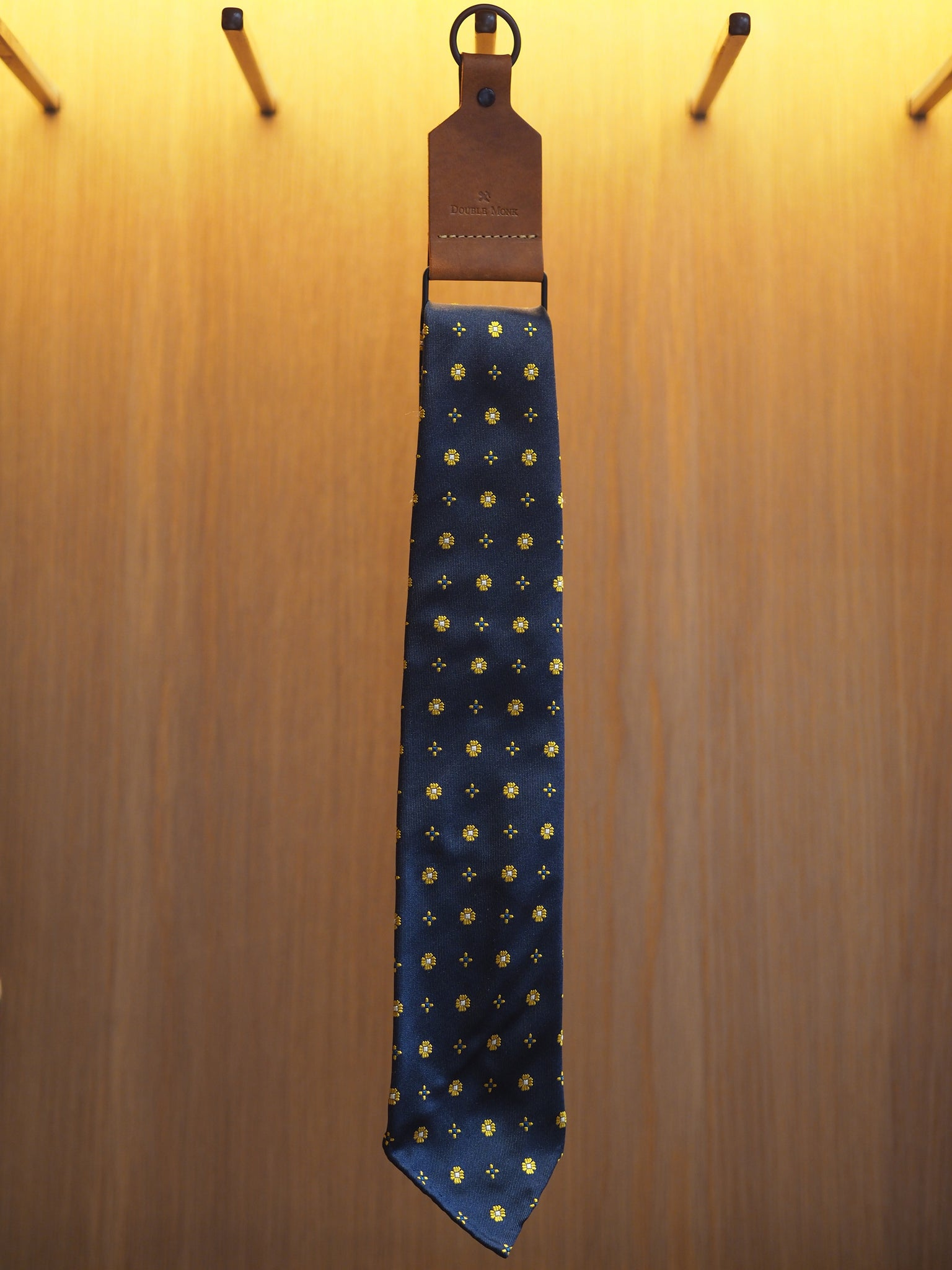 Jacquard Silk Tie Cross Flower Yellow