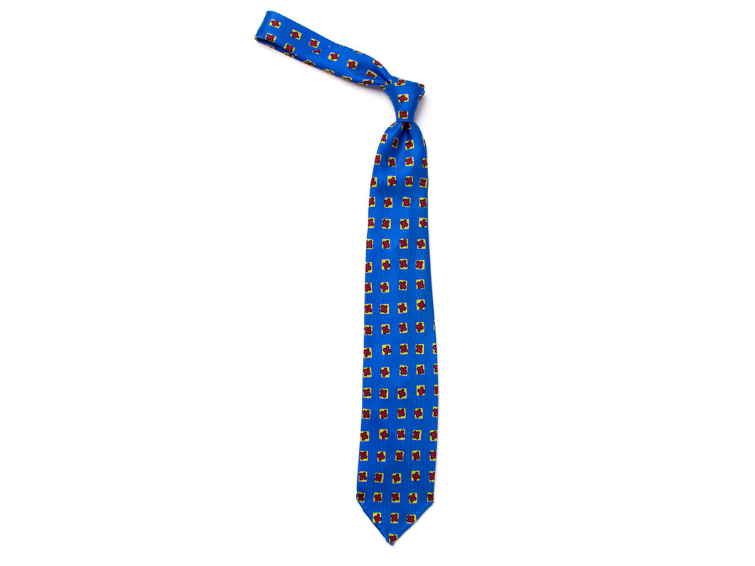 Unlined Seven Fold Silk Tie Square Flower Blue