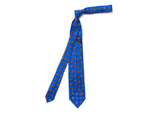 Load image into Gallery viewer, Unlined Seven Fold Silk Tie Square Flower Blue