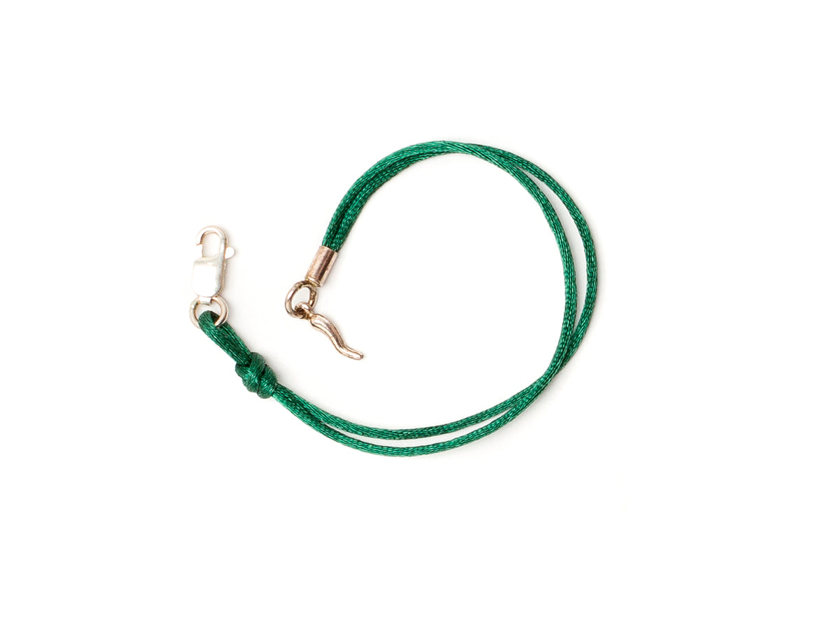 Silk Bracelet with Lucky Chilli Green