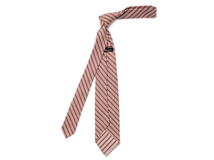 Unlined Seven Fold Silk Tie Stripe Brown