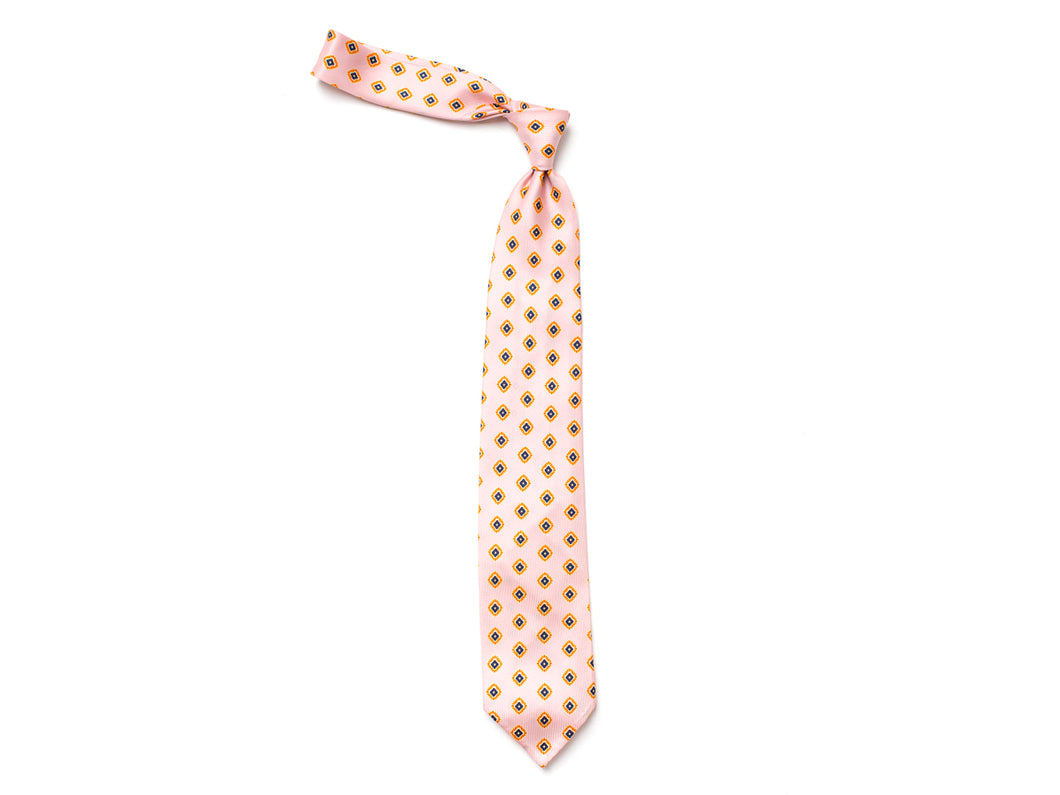 Unlined Seven Fold Silk Tie Small Petal Flower Pink