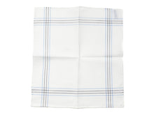 Load image into Gallery viewer, White Pocket Square with Fine Border Stripe