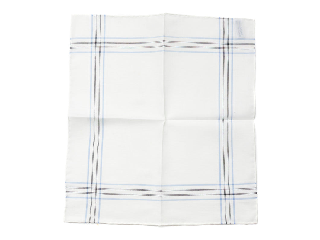 White Pocket Square with Fine Border Stripe