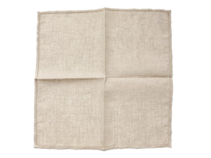 Beige Pocket Square with Hemstitch Edge