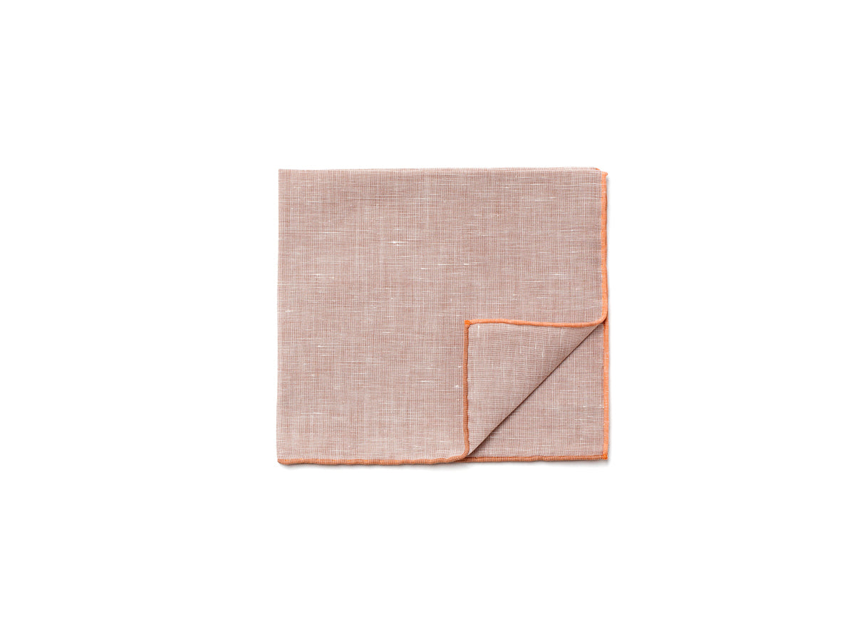 Light Brown Pocket Square with Orange Edge
