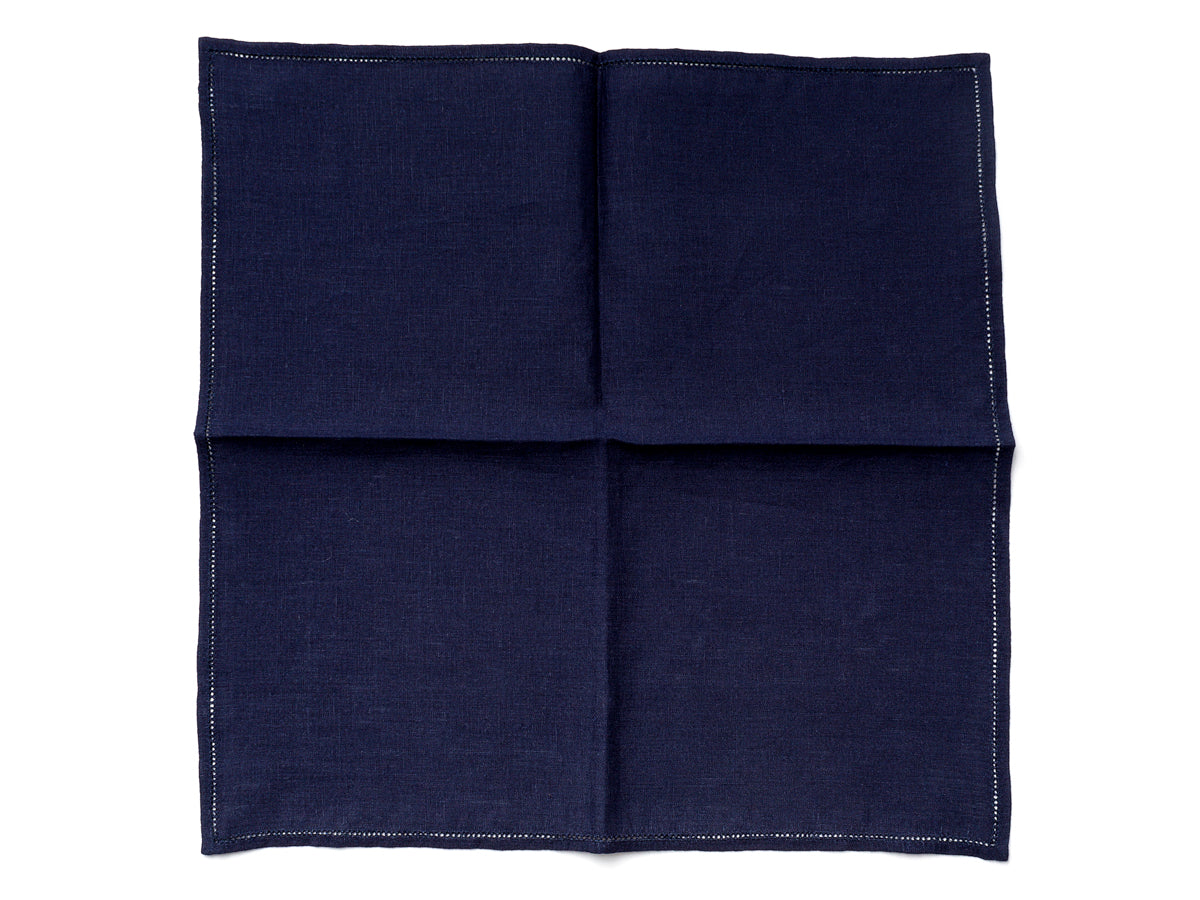 Navy Pocket Square with Hemstitch Edge