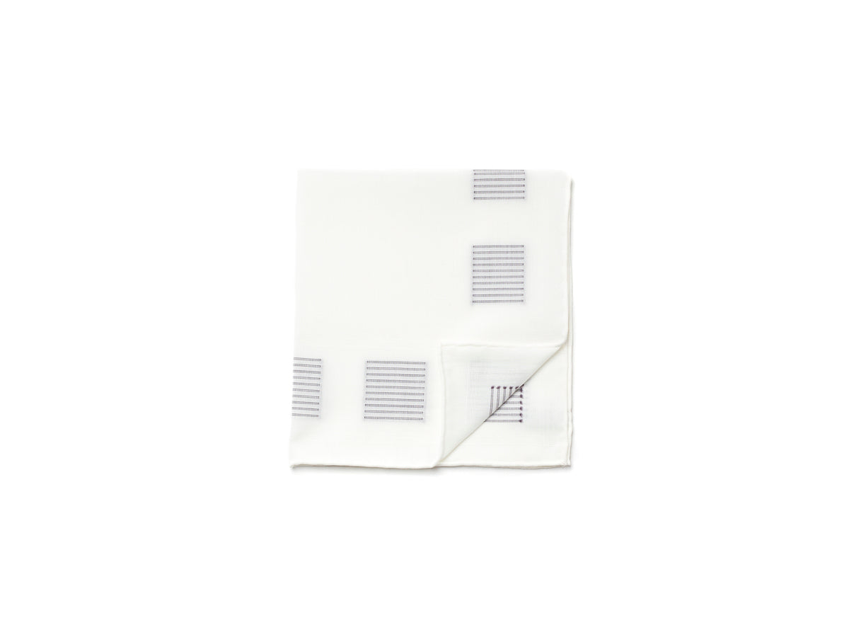 White Pocket Square with Square Stitch