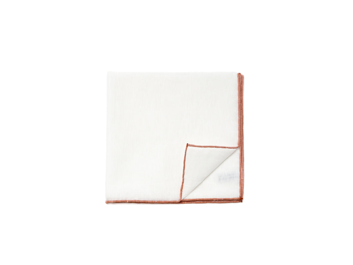 White Pocket Square with Brown Edge