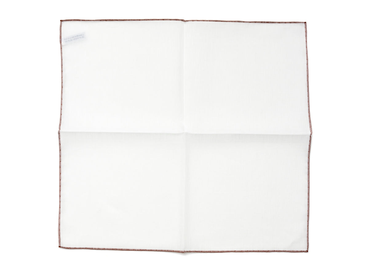 White Pocket Square with Dark Brown Edge