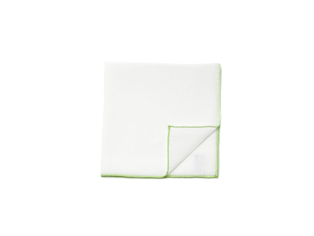 White Pocket Square with Green Edge