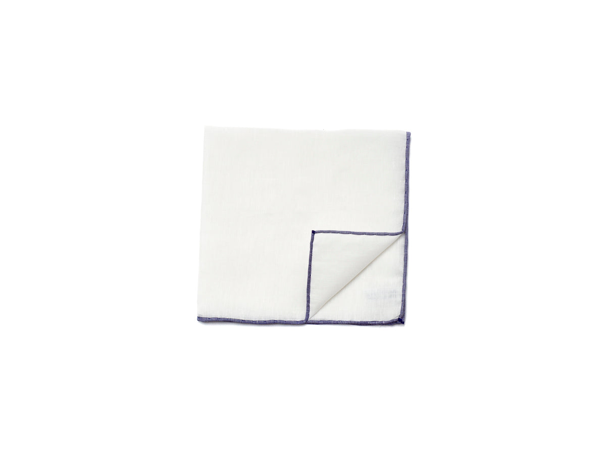 White Pocket Square with Navy Edge