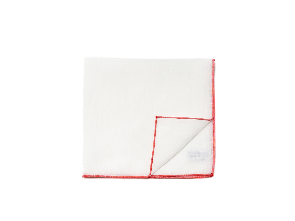 White Pocket Square with Red Edge