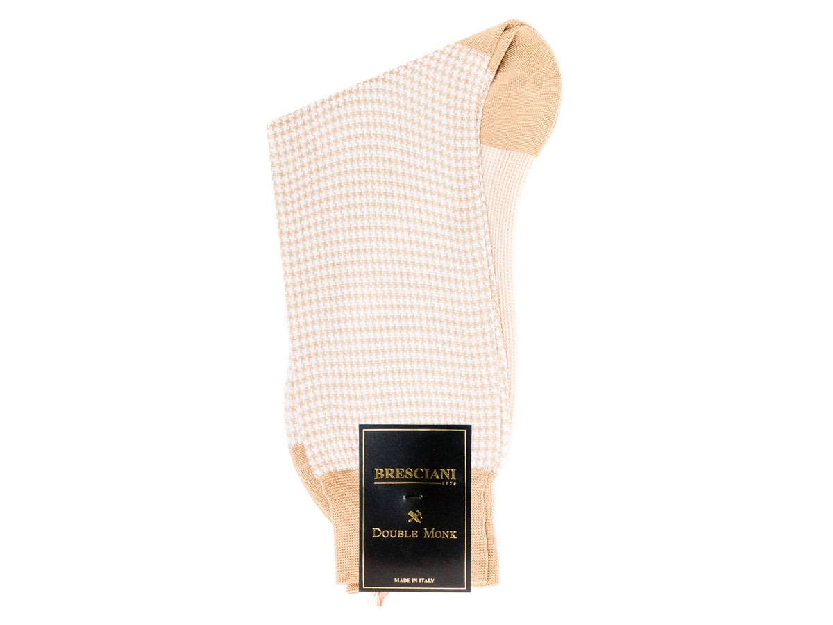 Calf Length Cotton Socks Tan & Beige Dogstooth