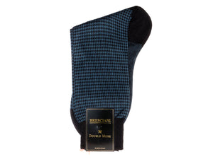Calf Length Cotton Socks Navy & Blue Dogstooth